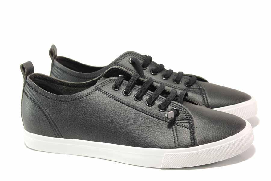 Мъжки обувки - висококачествена еко-кожа - черни - EO-15919