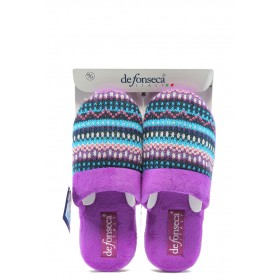 Дамски пантофи - висококачествен текстилен материал - лилави - EO-4846