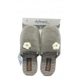 Дамски пантофи - висококачествен текстилен материал - сиви - EO-4847