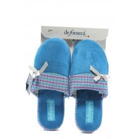 Дамски пантофи - висококачествен текстилен материал - сини - EO-4852