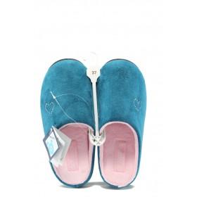 Дамски пантофи - висококачествен текстилен материал - сини - EO-4850