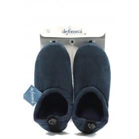 Мъжки чехли - висококачествен текстилен материал - сини - EO-4853