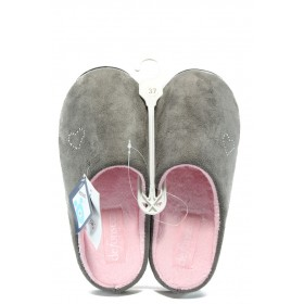 Дамски пантофи - висококачествен текстилен материал - сиви - EO-4870