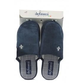 Мъжки чехли - висококачествен текстилен материал - сини - EO-4854