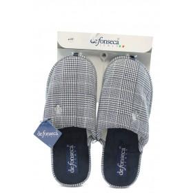 Мъжки чехли - висококачествен текстилен материал - сиви - EO-4860