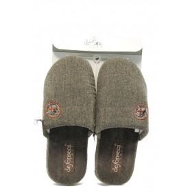 Мъжки чехли - висококачествен текстилен материал - кафяви - EO-4855