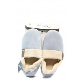 Дамски пантофи - висококачествен текстилен материал - светлосин - EO-4866