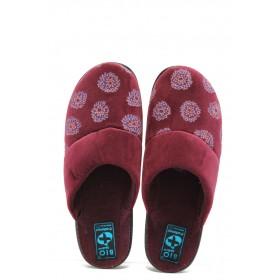 Дамски пантофи - висококачествен текстилен материал - бордо - EO-5218
