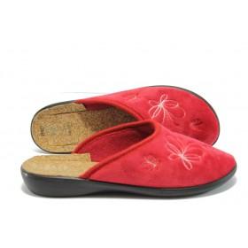 Дамски пантофи - висококачествен текстилен материал - червени - EO-5215