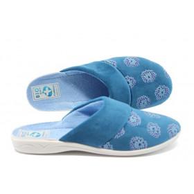 Дамски пантофи - висококачествен текстилен материал - сини - EO-5219