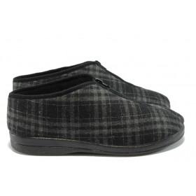 Мъжки чехли - висококачествен текстилен материал - черни - EO-5228