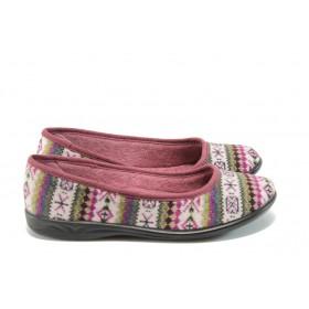 Дамски пантофи - висококачествен текстилен материал - бордо - EO-5285