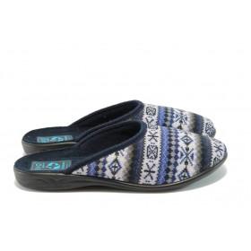 Дамски чехли - висококачествен текстилен материал - сини - МА 18273 син