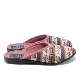 Дамски пантофи - висококачествен текстилен материал - бордо - EO-5287
