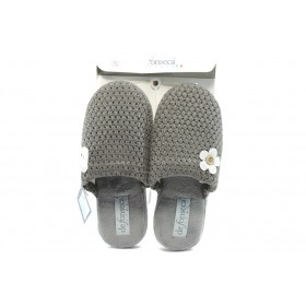 Дамски пантофи - висококачествен текстилен материал - сиви - EO-5297