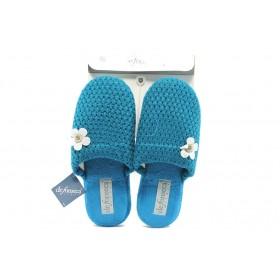Дамски пантофи - висококачествен текстилен материал - сини - EO-5300