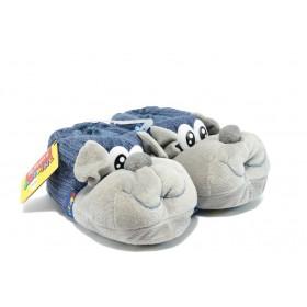 Детски чехли - висококачествен текстилен материал - сини - EO-7490