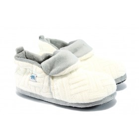 Дамски пантофи - висококачествен текстилен материал - бели - EO-5312