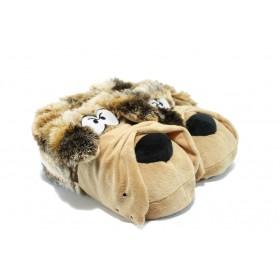 Мъжки чехли - висококачествен текстилен материал - светлокафяв - EO-5619