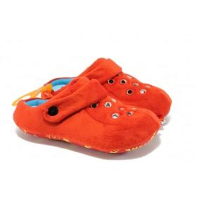 Дамски пантофи - висококачествен текстилен материал - червени - EO-5628