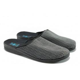Мъжки чехли - висококачествен текстилен материал - сиви - EO-5656