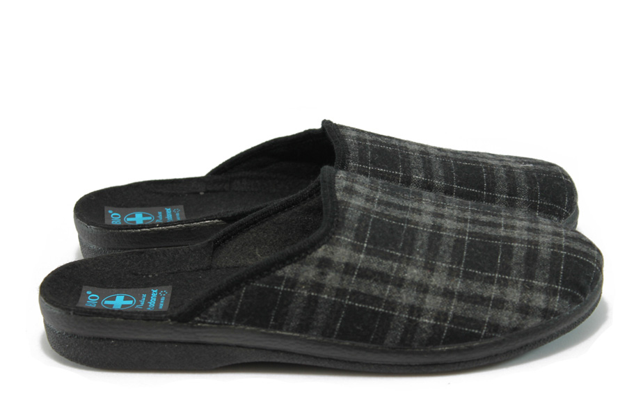 Домашни чехли - висококачествен текстилен материал - черни - EO-9397