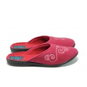 Дамски пантофи - висококачествен текстилен материал - червени - EO-5664