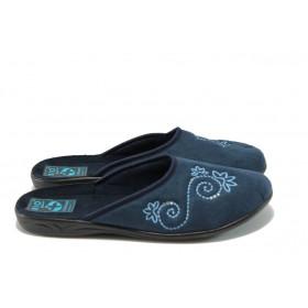 Дамски пантофи - висококачествен текстилен материал - сини - EO-5665