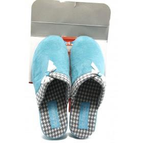 Дамски пантофи - висококачествен текстилен материал - сини - EO-4289