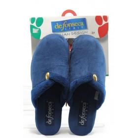 Дамски пантофи - висококачествен текстилен материал - сини - EO-4292