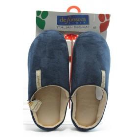 Мъжки чехли - висококачествен текстилен материал - сини - EO-4297