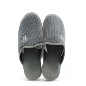 Мъжки чехли - висококачествен текстилен материал - сиви - EO-2318