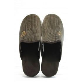 Мъжки чехли - висококачествен текстилен материал - кафяви - EO-2319