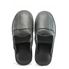 Мъжки чехли - еко-кожа - черни - EO-2321