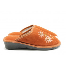 Дамски чехли - естествен набук - оранжеви - EO-2449
