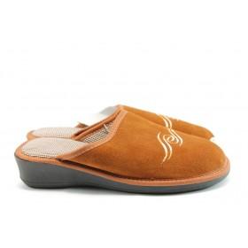 Дамски чехли - естествен набук - оранжеви - EO-2454