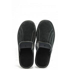 Мъжки чехли - естествен набук - черни - EO-2679