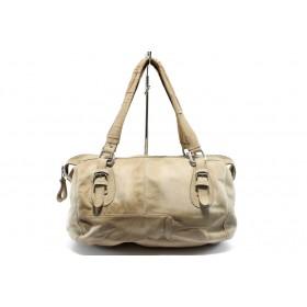 Дамска чанта - естествена кожа - бежови - EO-4556