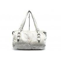 Дамска чанта - естествена кожа - бели - EO-4555
