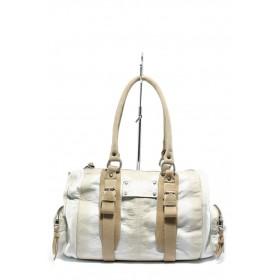 Дамска чанта - естествена кожа - бели - EO-4554