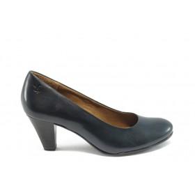 Дамски обувки на среден ток - естествена кожа - сини - EO-4566