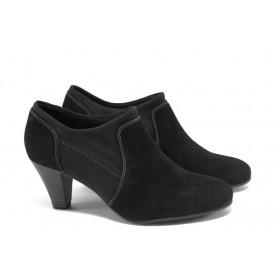 Дамски обувки на висок ток - естествен велур - черни - EO-4558