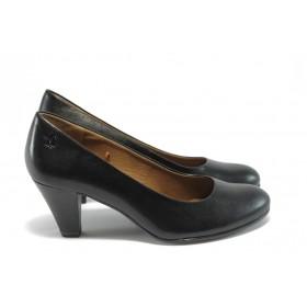 Дамски обувки на среден ток - естествена кожа - черни - EO-4557