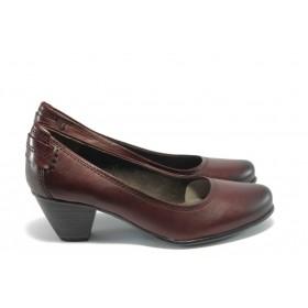 Дамски обувки на среден ток - естествена кожа - бордо - EO-1385