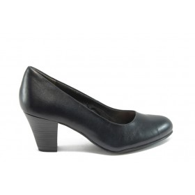 Дамски обувки на среден ток - естествена кожа - сини - EO-4564