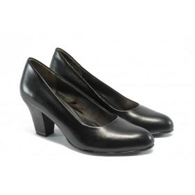 Дамски обувки на среден ток - естествена кожа - черни - EO-4458