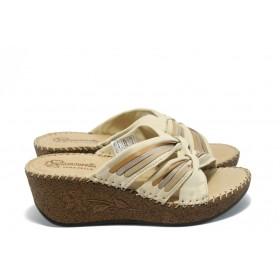 Дамски чехли - естествена кожа - бежови - EO-4474