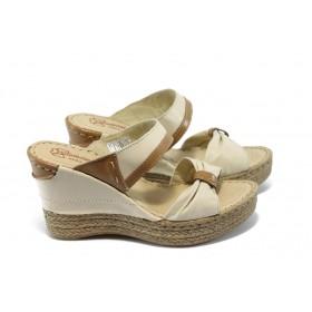 Дамски чехли - естествена кожа - бежови - EO-4562