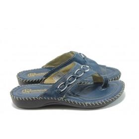 Дамски чехли - естествена кожа - сини - EO-4615