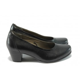 Дамски обувки на среден ток - естествена кожа - черни - EO-4568